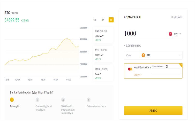 Bilgisayardan Kullanıcıları için Binance'dan Kredi Kartı ile Bitcoin Satın Alma